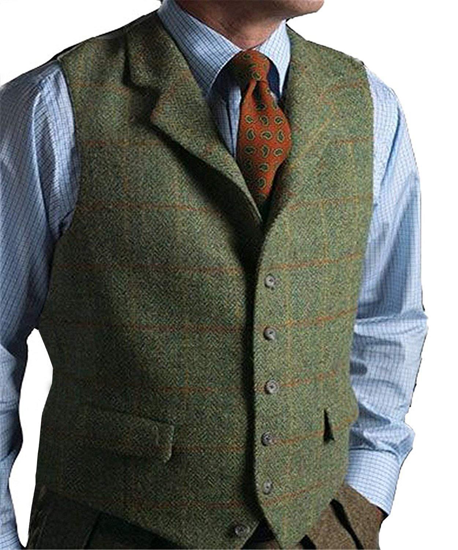 Green Casual Gentleman Men's Vest Plaid Soft Wool Jacket Tweed Business Coffee Waistcoat For Best Man Wedding For Party