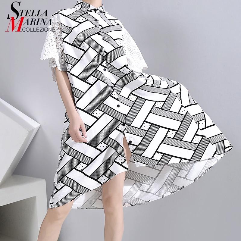 New 2020 Summer Women Unique White Shirt Dress Lace Sleeve Geometrical Pattern Printed Ladies Big Size Midi Dress vestidos 6244