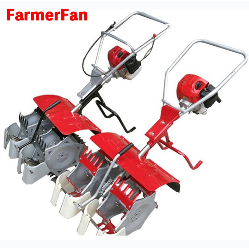 Gasoline paddy field weeding machine hand-push double-row weeding machine enlarge
