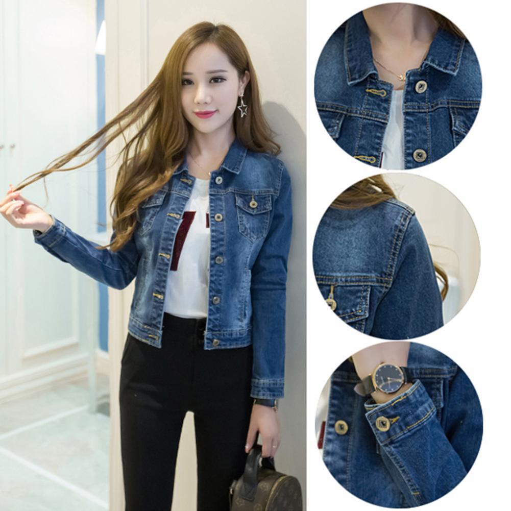 Фото - Корейская одежда, женская джинсовая куртка, короткая джинсовая куртка с отложным воротником, Джинсовая Верхняя одежда на пуговицах для жен... scout джинсовая верхняя одежда