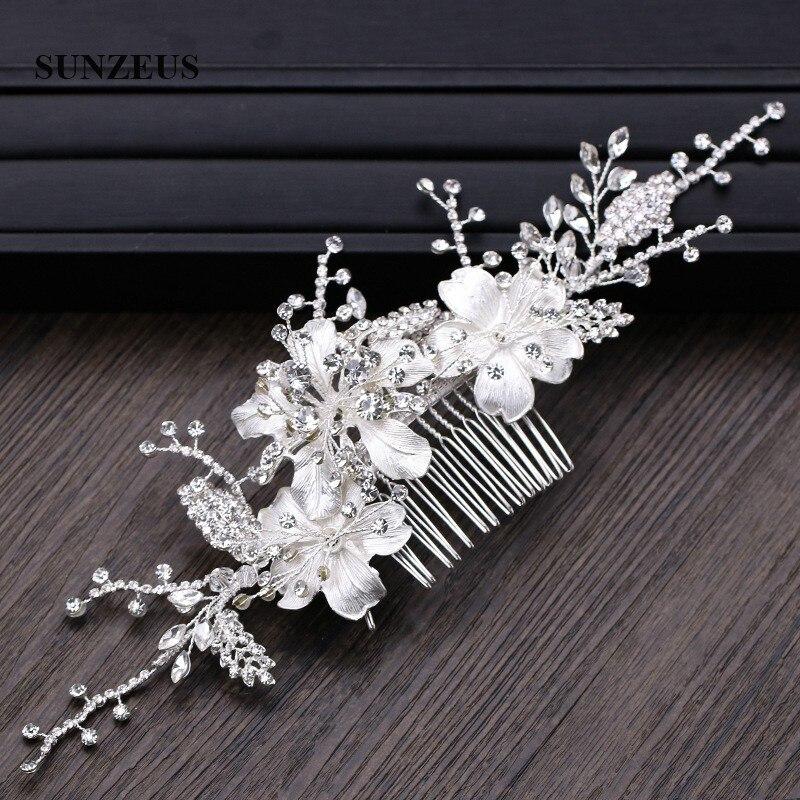 أمشاط الزفاف المعدنية بالزهور الفضية ، غطاء الرأس بأوراق الكريستال ، إكسسوار الزفاف الجديد ، شحن مجاني ، SQ427 ، 2019