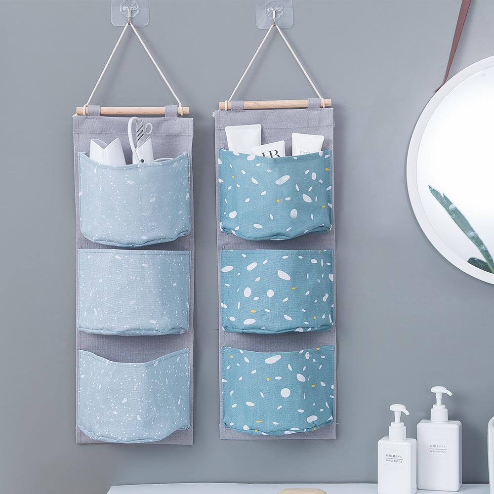 Door Hanging Organizer Oxford Fabric Glasses Cosmetic Sundries Hanging Storage Pockets For Wall Decor