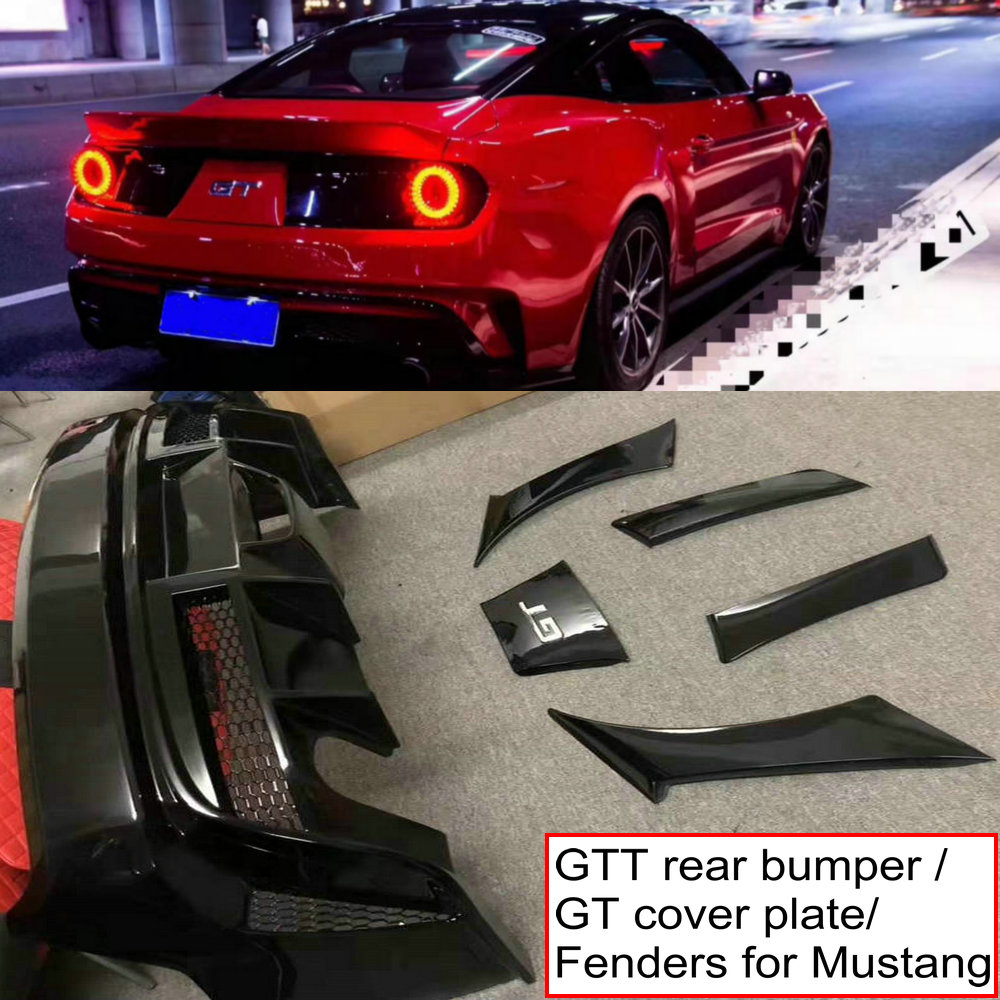 ABS auto estilo GTT pára difusor traseiro lip/side fenders/placa de cobertura do logótipo para Ford Mustang GT 2015 -2019 bodykit para GTT
