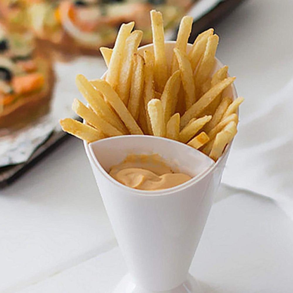 Vaso de plástico para papas fritas, platos para guardar salsa, vajilla, vajilla, verdura de patatas fritas, ensalada, taza creativa, aperitivo perezoso, recipiente de plástico con 2 rejillas