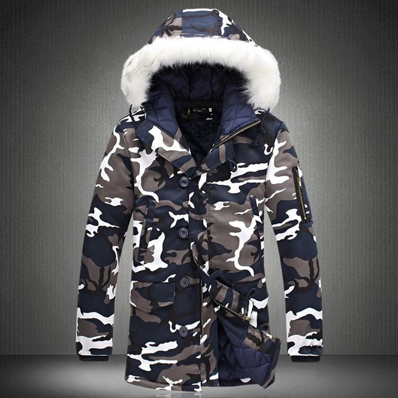 Chaqueta de invierno para hombre 2019 gran oferta camuflaje ejército grueso abrigo cálido Parka para hombre moda masculina Parkas con capucha hombre de talla grande DD432