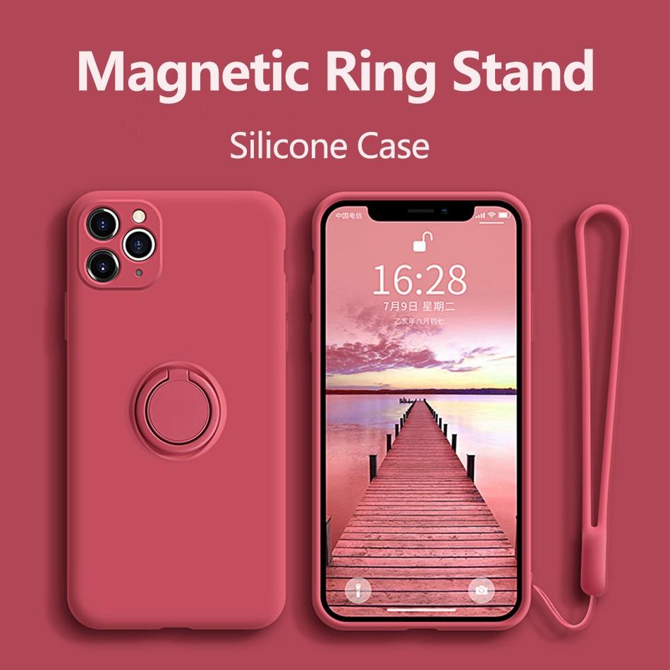 Чехол для iPhone 12, силиконовый чехол с кольцом-держателем для iPhone 11 12 Pro Max XR Mini X XS Max 7 8 Plus SE 2020, чехол