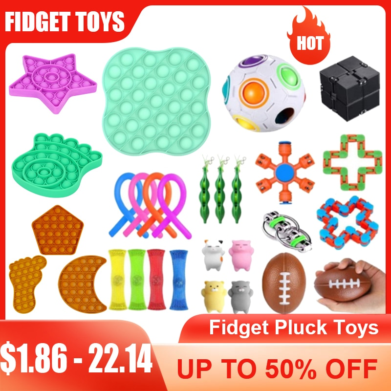 NEW Fidget Toys Pluck Sensory Antistress Toy Pack it Set autism Stress Relief Toys Kids Adults Educational Push Bubble Funny Toy