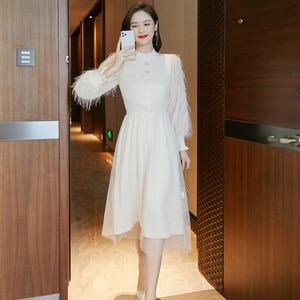 Autumn and winter 2020 new style long-sleeved splicing mesh white knitted dress women
