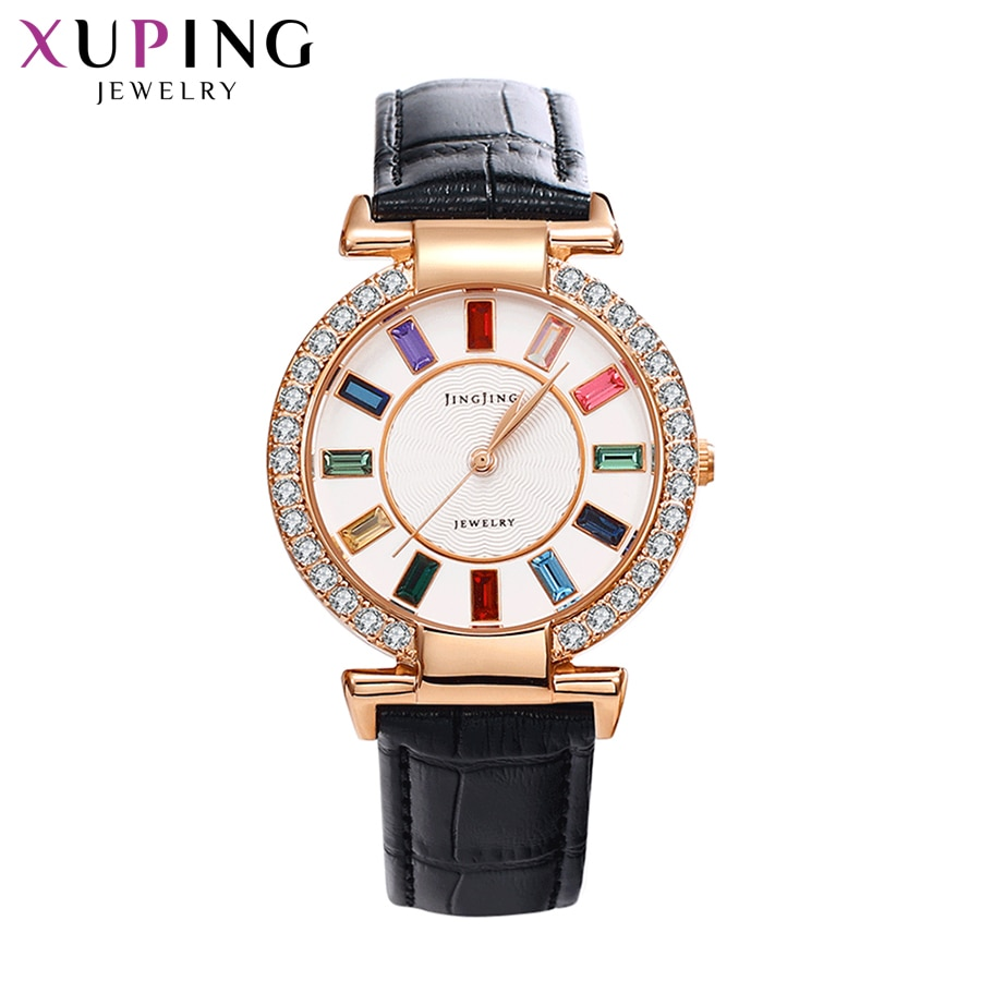 Xuping White Synthetic Cubic Zirconia Watch Women Round Shaped Environmental Copper Graduation Gifts Luxulry Exquisit Watch