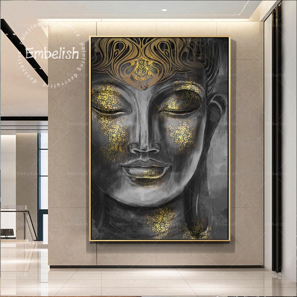 Pósteres de Arte de pared de estatua de Buda dorado de acuarela Embelish para sala de estar decoración moderna del hogar lienzo HD pinturas al óleo