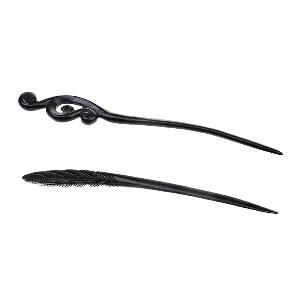 2 piezas Vintage mujeres Phoenix pluma horquilla mano tallada ébano chino palos de pelo elegante