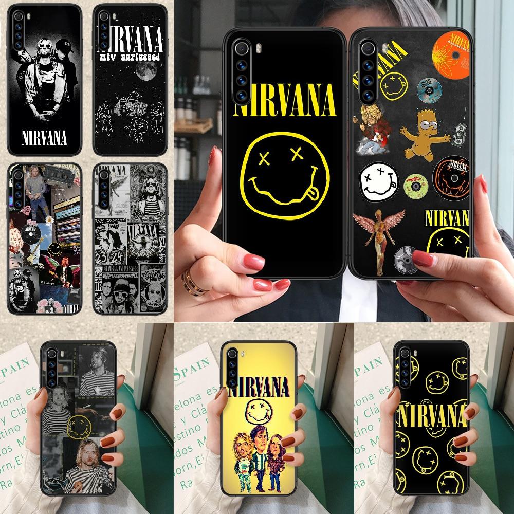 Nirvana kurt donald cobain caso de telefone para xiaomi redmi nota 7 8t 9s 4x 7 7a 9a k30 pro ultra preto etui pintura capa
