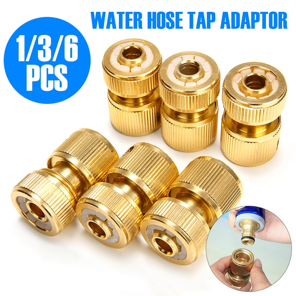 Brass-Coated Hose Adapter, 1/2 Quick Connect Swivel Connector Garden Hose Coupling Systems for Watering Irrigation Dropshipping 5pcs 1 2 green hose joint coupling connector for garden irrigation balcony flowers garden water connector
