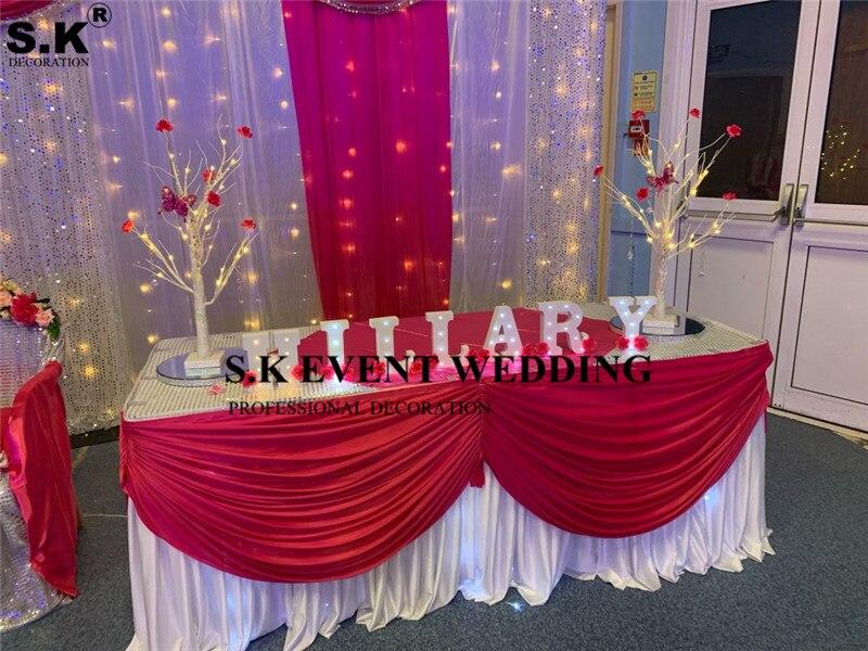 تنورة طاولة من الحرير الأبيض بطول 80 سنتيمتر × 3 متر ، غطاء من القماش مع لون غنيمة لتزيين حفلات الزفاف والمآدب