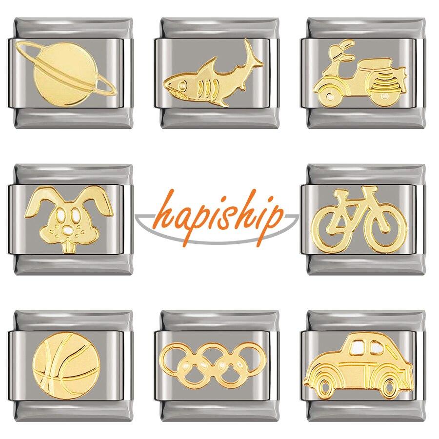 Hapiship 2020 Original Daisy oro coche de bola conejo tiburón bicicleta encanto italiano Fit 9mm pulsera de acero inoxidable bricolaje DJ085