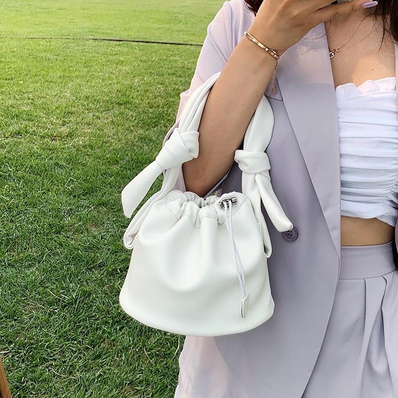 Small PU Leather Drawstring Bucket Bag Lady Crossbody Bags Women 2020 Solid Color Shoulder Handbags Female Cross Body Bag