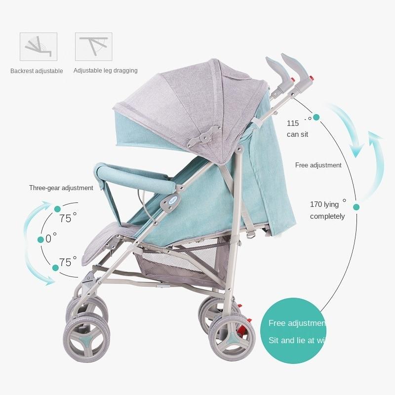 LazyChild Portable Lightweight Baby Stroller Can Sit Lie Down Folding Shock Absorber Light Travel Pushchair Umbrella Cart enlarge