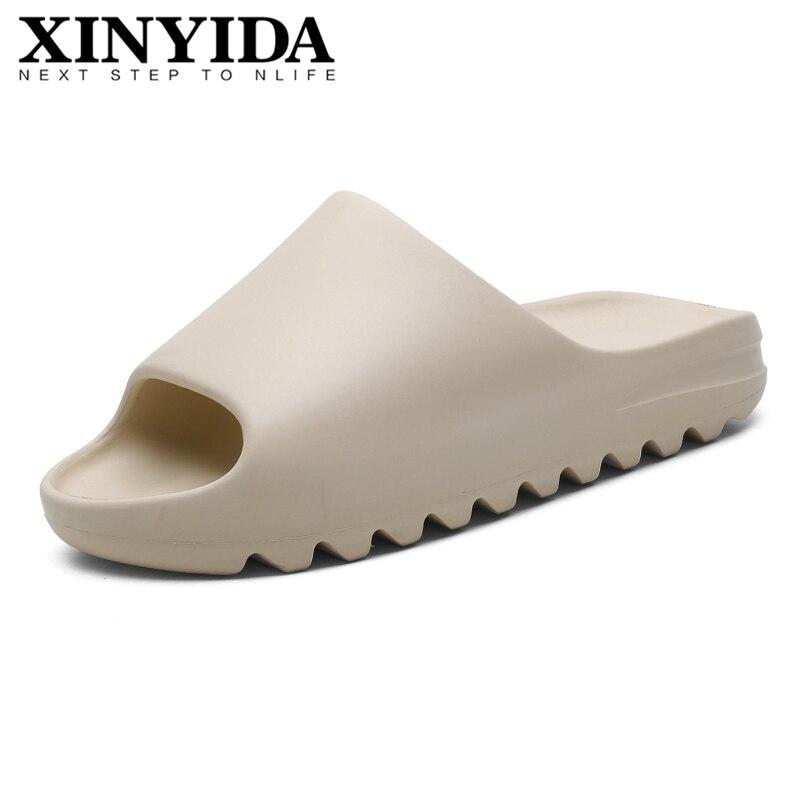 Los hombres de verano de Yzy diapositivas fresco transpirable sandalias de playa Flip Flops Boca de pescado de los hombres ligero blanco hueso de talla grande 35-46