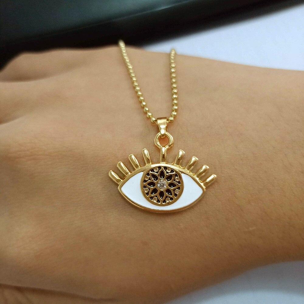 Cristal turco mal de ojo collares con colgante a la moda Diamante de imitación Color dorado ojo Collar para mujer cadena larga collar gargantilla joyería