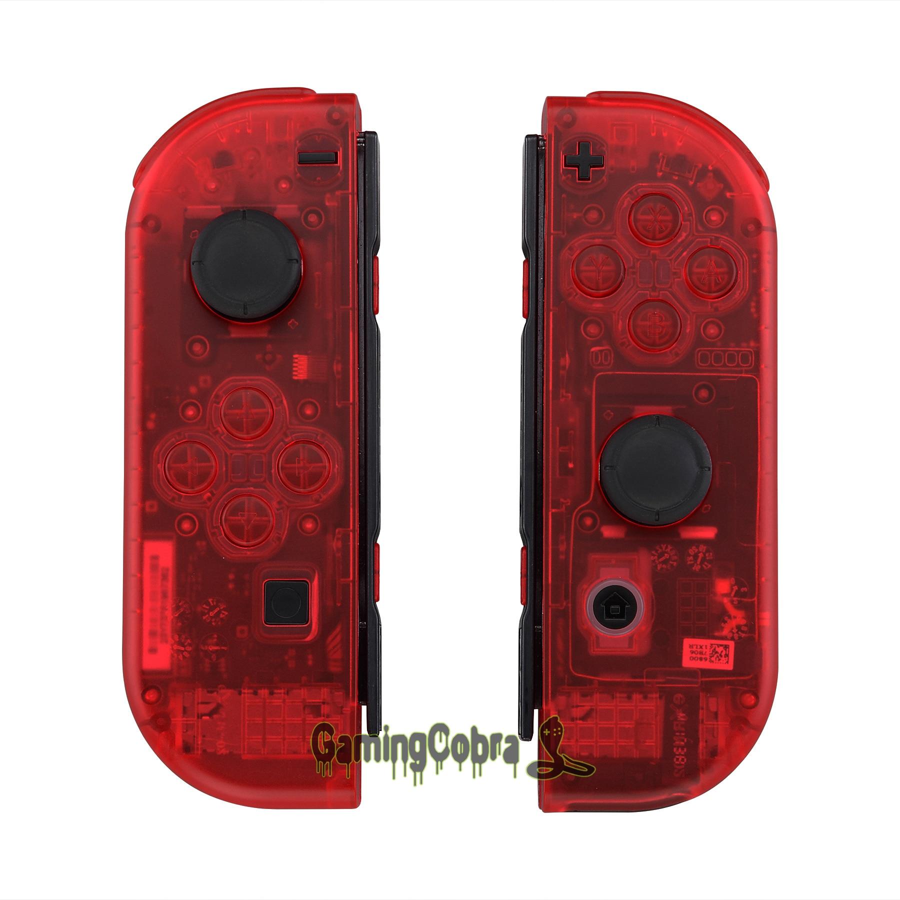 Funda carcasa roja transparente personalizada Con botones completos para Nintendo Switch Joy-Con controlador