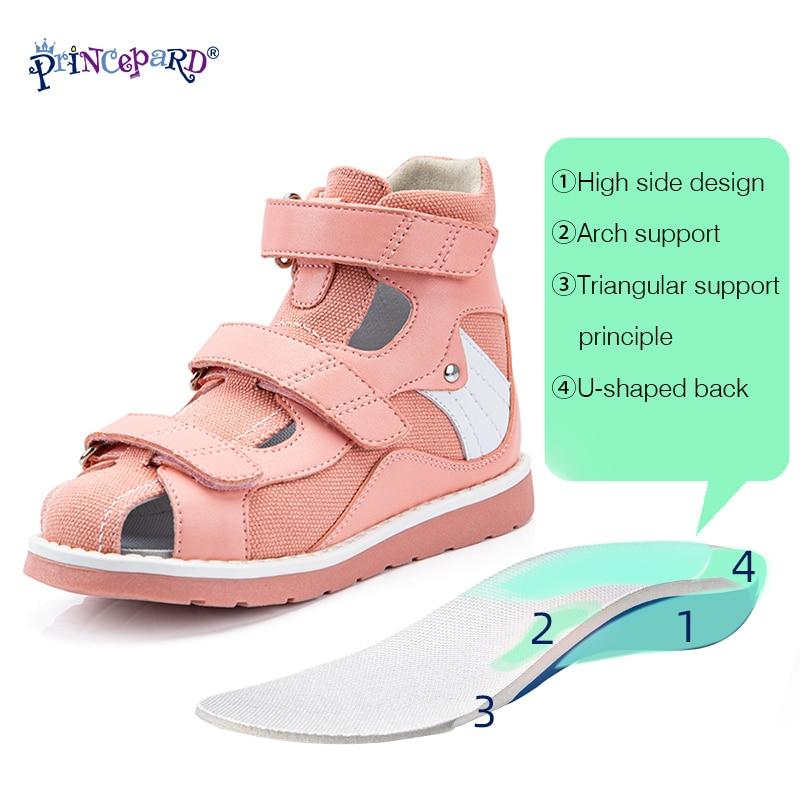 Princepard Children Sandals for Girls Princess Leather Orthopedic Shoes Pink Summer Toddler Kids Corrective Sandals Arch Care enlarge