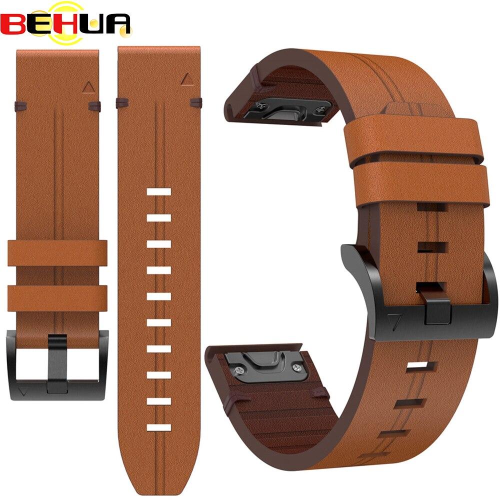 Кожаный ремешок для часов Garmin Fenix 6, сменные ремешки с быстроразъемным ремешком, ремешок для смарт-браслета, 22 мм