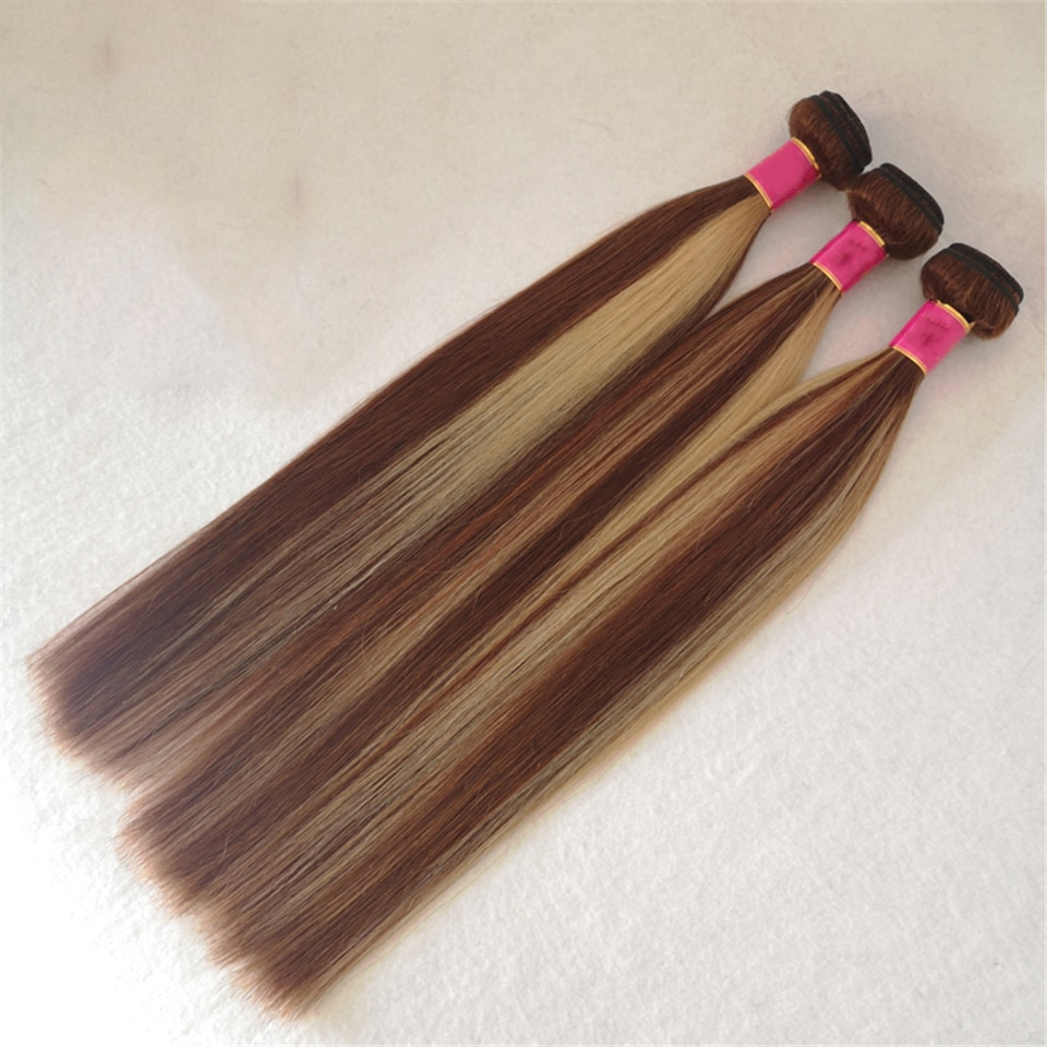 8-30inch afro cabelo humano hair extensions human hair weaves straight highlight piano 4/27 brown hair free shipping