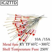 Bezpiecznik metalowy CCC RY 250V 10A 15A TF 125 stopni celsjusza temperatura TF bezpiecznik termiczny RY 125C elektryczny ryżowar kuchenka mikrofalowa