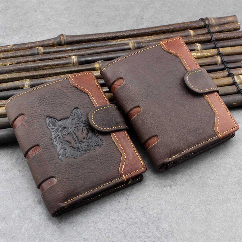 Men's Business Genuine Leather Wallet Wolf Pattern Pocket Credit Card Holder Clutch Bifold Purse F42A