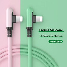 90 Degree USB Cable For iPhone 12 11 Pro Max X XR XS 8 7 6 6s 5 5s Fast Charging Charger Liquid Sili