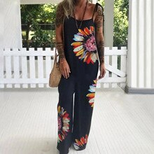 Summer Women Floral Loose Casual Jumpsuit Ladies Sleeveless Printed Bandage Long Pants One Piece Out