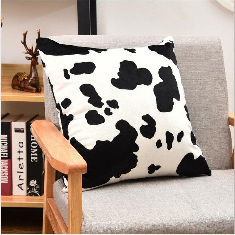 100% Polyester Short Plush Cushion Cover Pillowcase 45cmX45cm Cow Print  Pillowcase Plush Cushion Cover Christmas Pillow Case