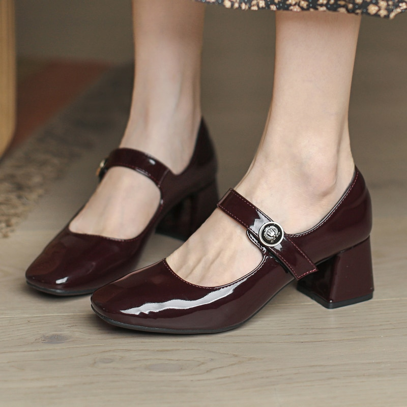 Mary Jane Women's Pumps Shoes Loafers Leather 2021 Retro Single Style Girls Student College Costume Casual Flats
