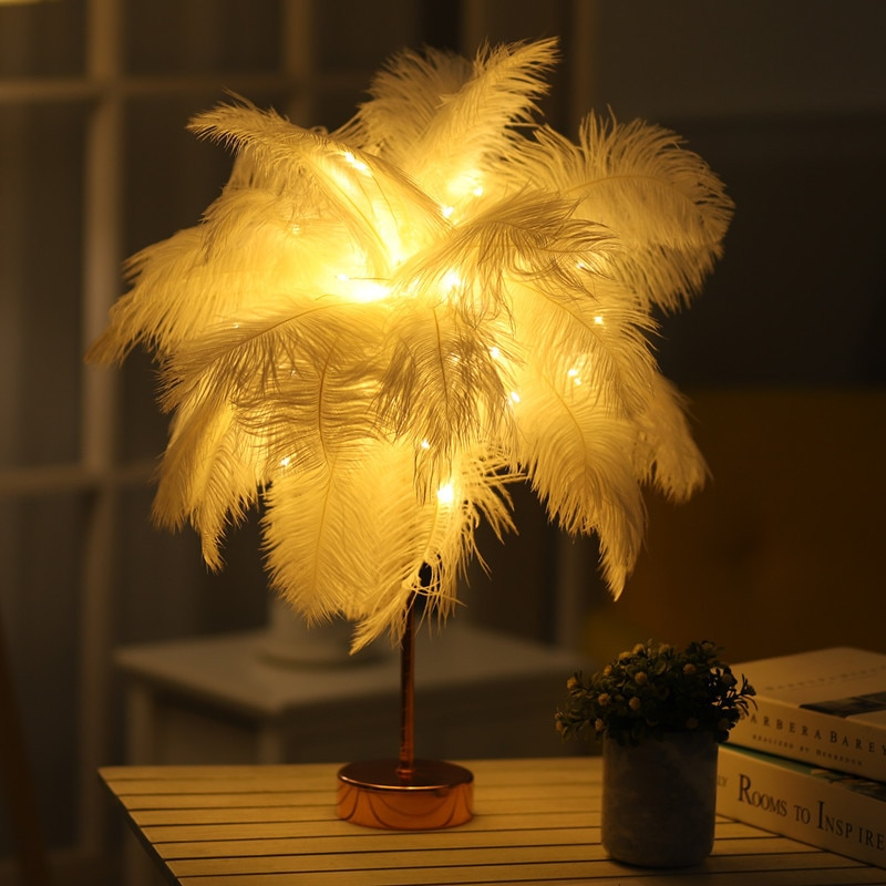 Ostrich Feather Table Lamp Wrought Iron Night Light Remote Control LED Dandelion Lamp Copper Warm Wire Lamp Romantic Desk Lamps enlarge