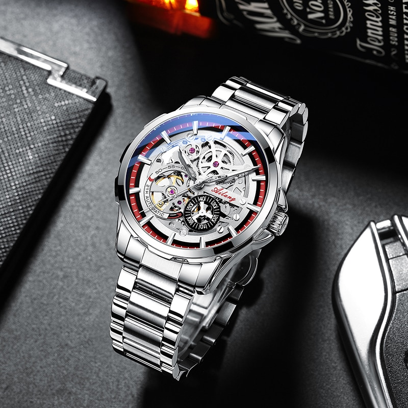 AILANG large dial vintage mens watch wrist sports tourbillon hollow automatic mechanical hand windin