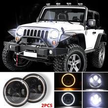 HiMISS 7 pouces 140W LED phares Halo Angle oeil pour Jeep Wrangler CJ JK LJ 97-17