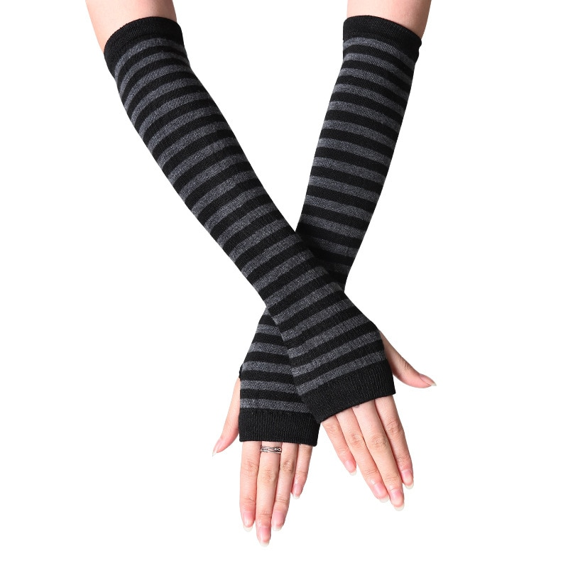 women striped elbow gloves spring autumn solid color fashion lady warm knitted long fingerless gloves high quality elbow mittens Women Striped Elbow Gloves Spring Autumn Solid Color Fashion Lady Warm Knitted Long Fingerless Gloves High Quality Elbow Mittens