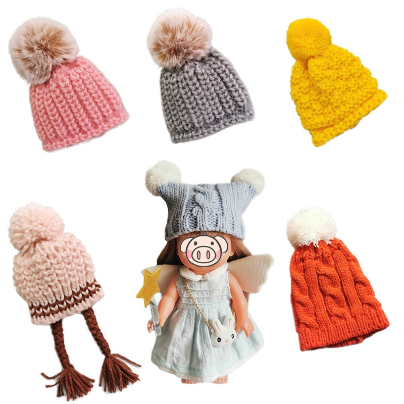 1pcs Doll-Hat Small Knitting Hat for 25cm Mellchan Dolls Woolly Hat Toy Doll Accessories Children Gi