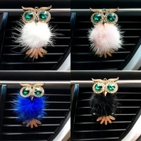 leepee cute crystal owl car air freshener vent solid fragrance diffuser interior accessories auto outlet perfume clip