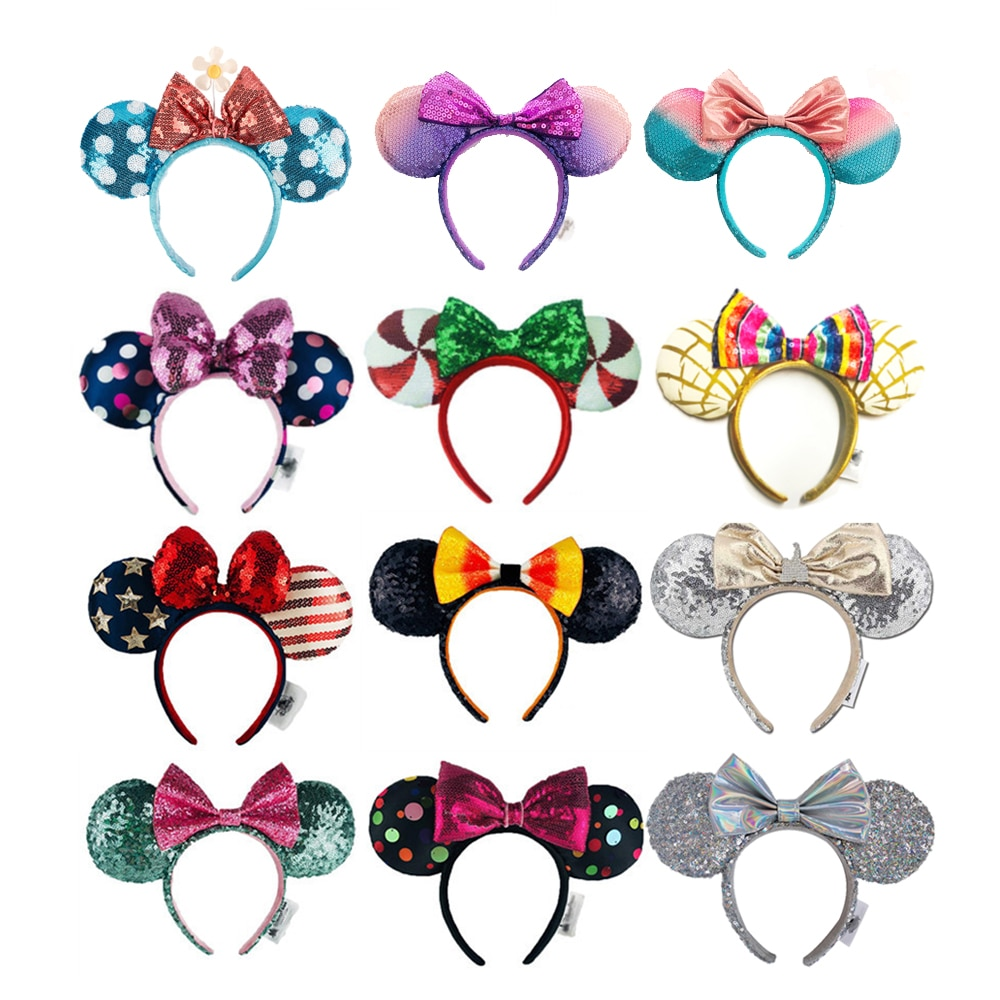 High Quality Minnie Big Ears Headband Mermaid princess Bows Sequin EARS COSTUME Headband Cosplay Plu