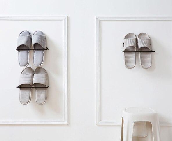 Zapatero de hierro sin perforar, estante de zapatos montado en la pared...