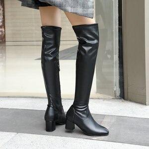 Fashion Knee High Boots Women Winter Boots Square Loe Heel Long Boots Square Toe Zipper Autumn Female Boots Black White