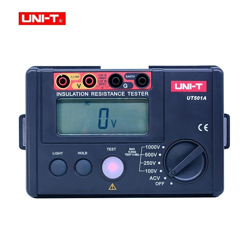 UNI-T UT501A جهاز اختبار مقاومة العزل 100-1000 فولت megger متر المقاومة الرقمية متر Megohmmeter 30 ~ 750 فولت التيار المتناوب الفولتميتر