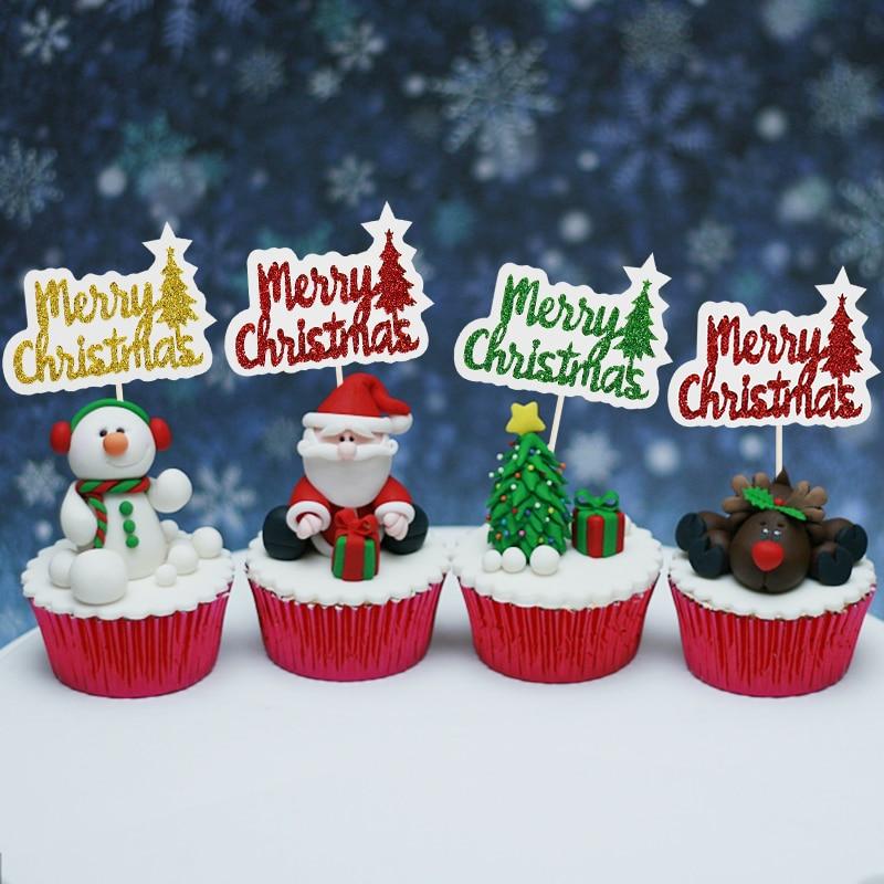 Decoración navideña de 12 Uds., feliz adorno de pastel de Navidad, púas...