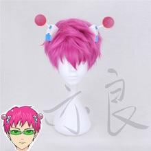 Tokyo Anime The Disastrous Life of Saiki K. Cosplay Wig Glasses Saiki Kusuo Short Pink Synthetic Hair with Hair Pin +Wig Cap