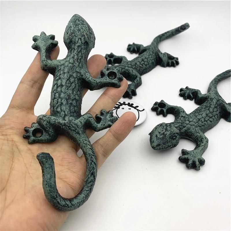 Gancho de Gecko de hierro forjado multiusos, ganchos rústicos montados en la...