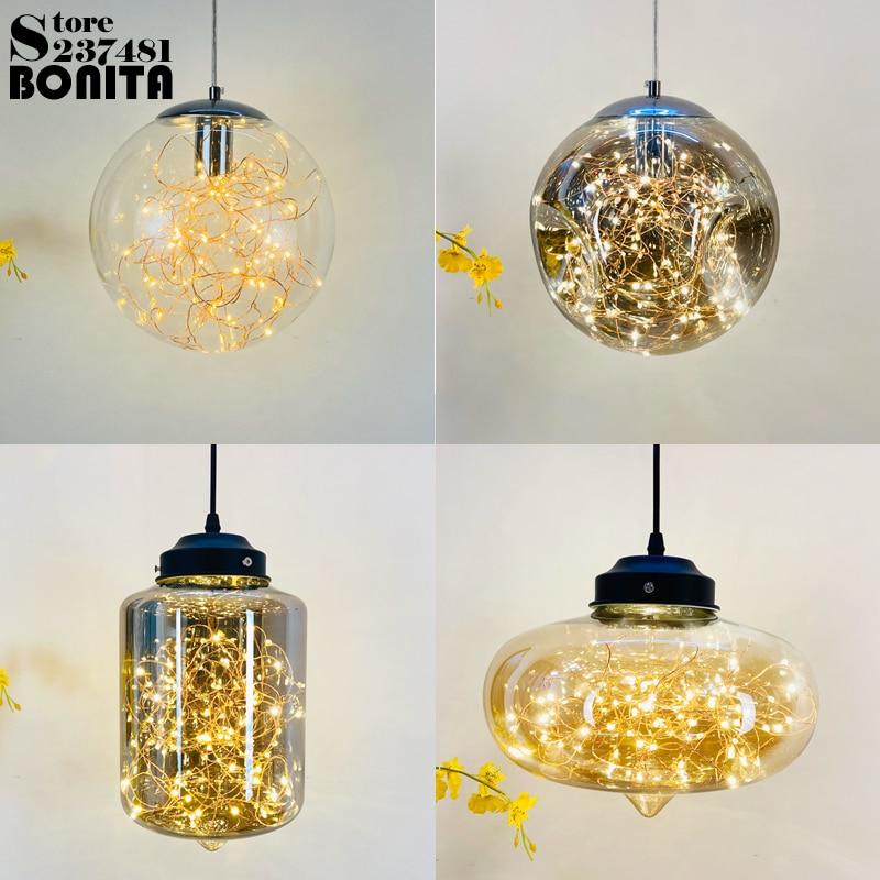Glass Starry hanging lights bedroom Fireworks bubble  ball pendant lamp modern Firefly droplight loft Nordic minimalism
