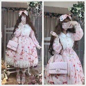 Kawaii Strawberry Desserts Print Women's Lolita Lace Bows Princess OP Dress Autumn Doll Collar Long Sleeve Party Fancy Dress