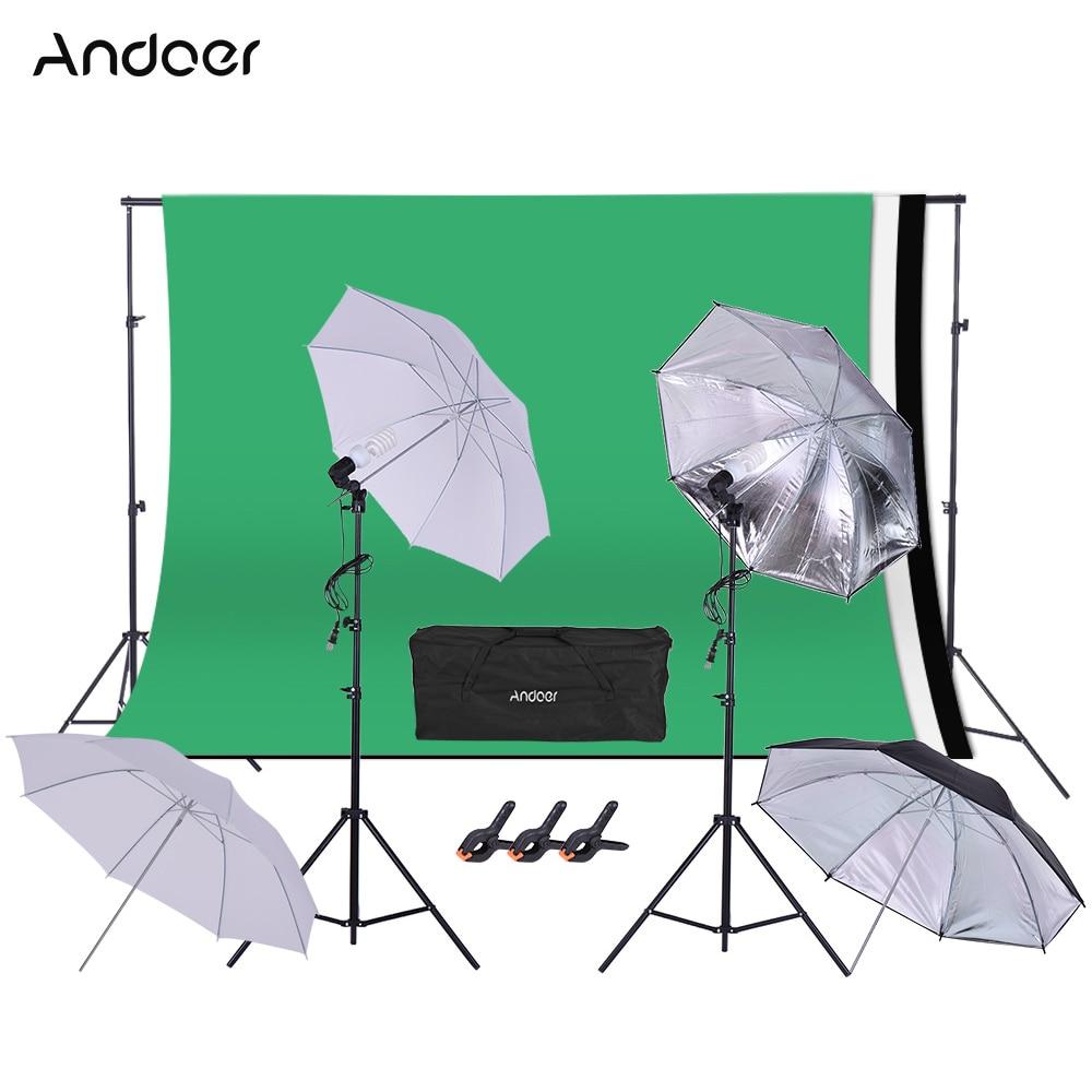 Andoer-مجموعات استوديو الصور ، وخلفيات إضاءة ، ومقبس دوار ، وحوامل إضاءة ، ومظلة ، وحامل خلفية ، ومشبك ، للتصوير الفوتوغرافي