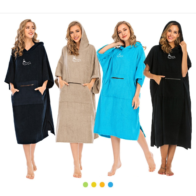 women's swimwear 2021 black poncho towel diving surfing cotton dry robe hoodie poncho with embroidery